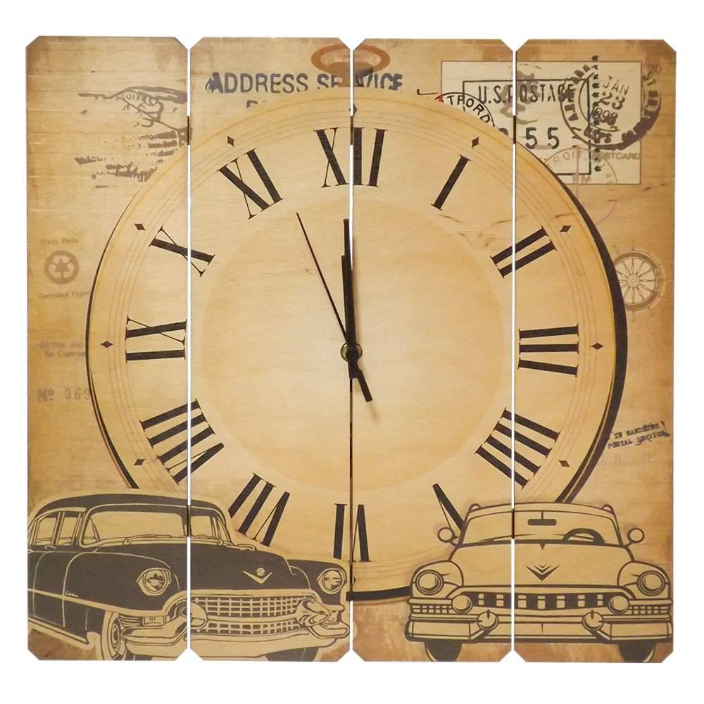 Relógio de Parede Old Car em Madeira MDF - 40 cm