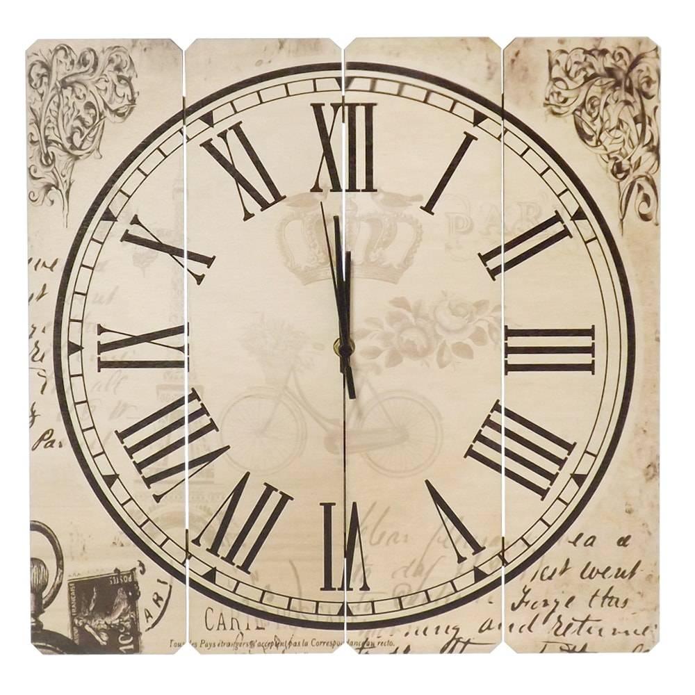 Relógio de Parede Old Paris em Madeira MDF - 40 cm