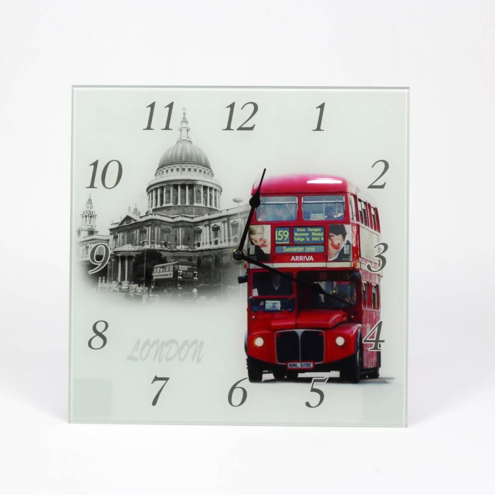 Relógio de Parede Quadrado Ônibus Double Deck Vermelho - Prestige - 30 cm