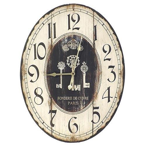 Relógio de Parede Oval Three Keys Oldway - Madeira - 60x45 cm