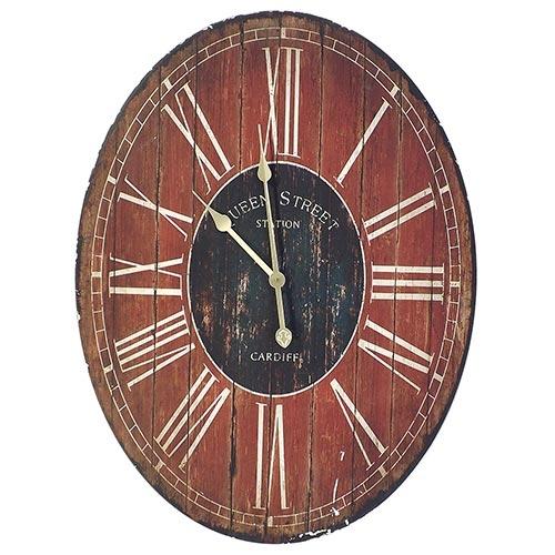Relógio de Parede Oval Top Queen Street - Madeira - 80x60 cm