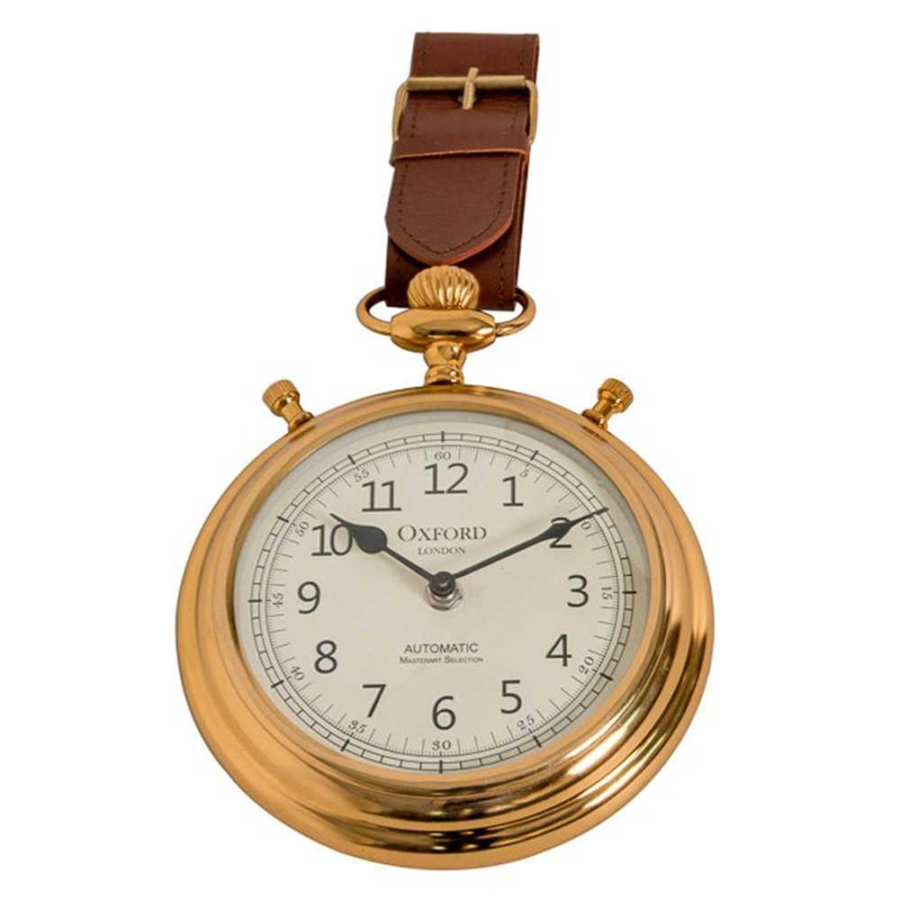 Relógio de Parede Oxford Dourado e Marrom em Couro Natural e Metal Banhado a Bronze - 35x20 cm
