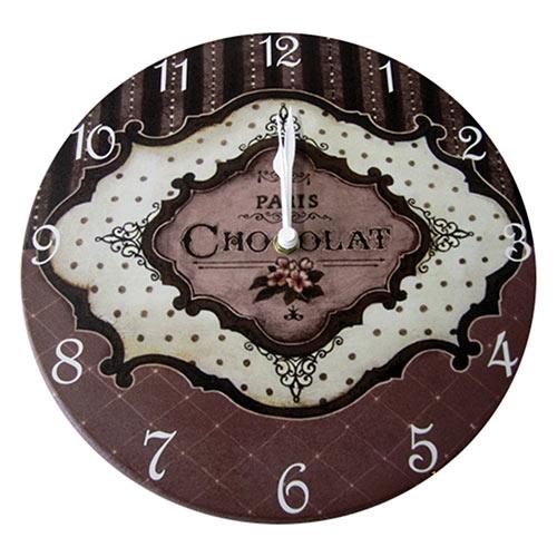 Relógio de Parede Paris Chocolat em Madeira MDF - 28 cm