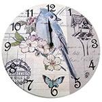 Relógio de Parede Pássaro Azul e Casinha em Madeira MDF - 28 cm