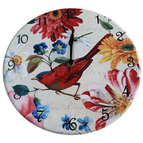 Relógio de Parede Pássaro e Flores Coloridas em Madeira MDF - 28 cm