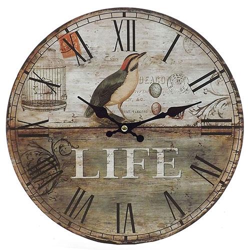 Relógio de Parede Pássaro Life Oldway - Em MDF - 29 cm