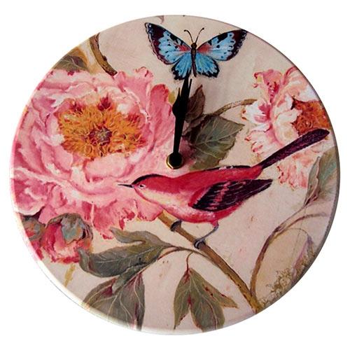Relógio de Parede Pássaro Vermelho e Flor Rosa em Madeira MDF - 28 cm