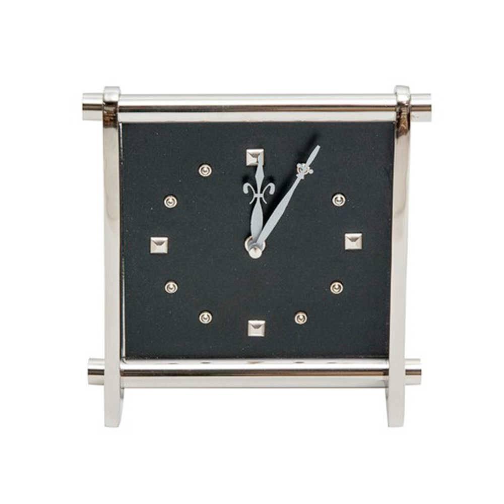 Relógio de Parede Pequeno Quadrado Cromado em Couro Natural e Metal - 21x18 cm