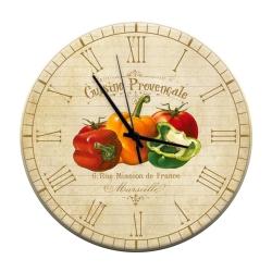 Relógio de Parede Pimentões Coloridos e Tomate em MDF