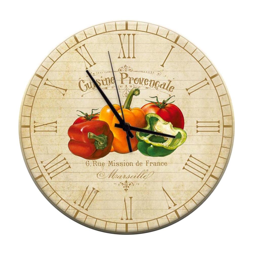 Relógio de Parede Pimentões Coloridos e Tomate em MDF - 28 cm