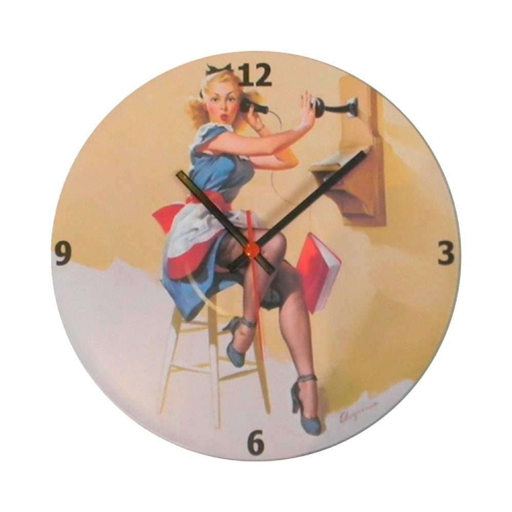 Relógio de Parede Pin Up Telefone Multicolorido em Vinil - 30x30 cm