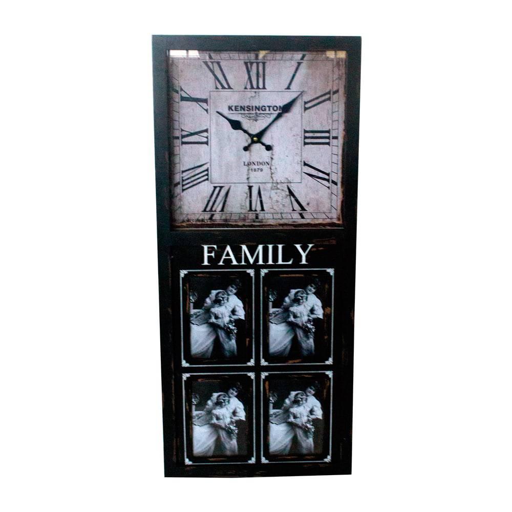Relógio de Parede com Porta-Retrato 4 Fotos Oldway - 80x35x5,5cm