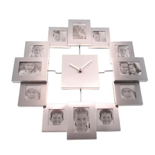 Relógio de Parede Porta-Retratos em Metal - 35x2 cm