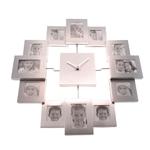 Relógio de Parede Porta-Retratos em Metal