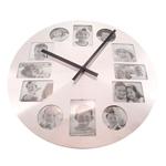 Relógio de Parede Prata Porta-Retrato em Metal