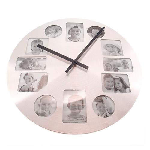 Relógio de Parede Prata Porta-Retrato em Metal - 40x2 cm