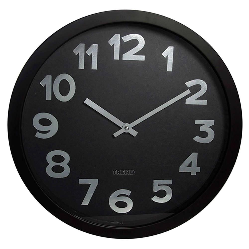 Relógio de Parede Preto Big Numbers Silver - Urban - 40 cm