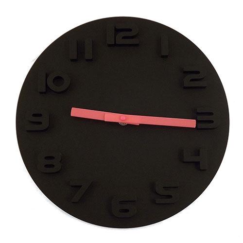 Relógio de Parede Preto com Ponteiros Rosa - Em Madeira e Plástico - 32cm
