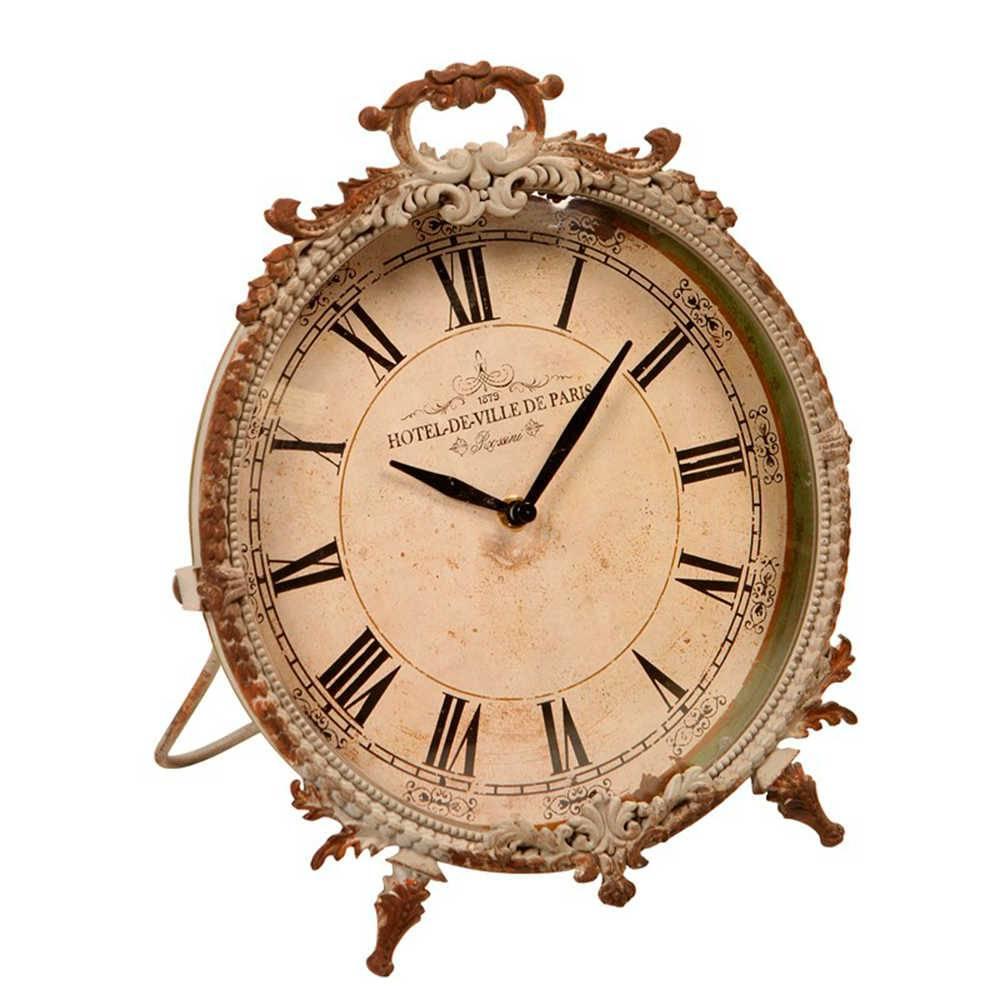Relógio de Parede Provençal Branco Envelhecido em Metal - 30x25 cm
