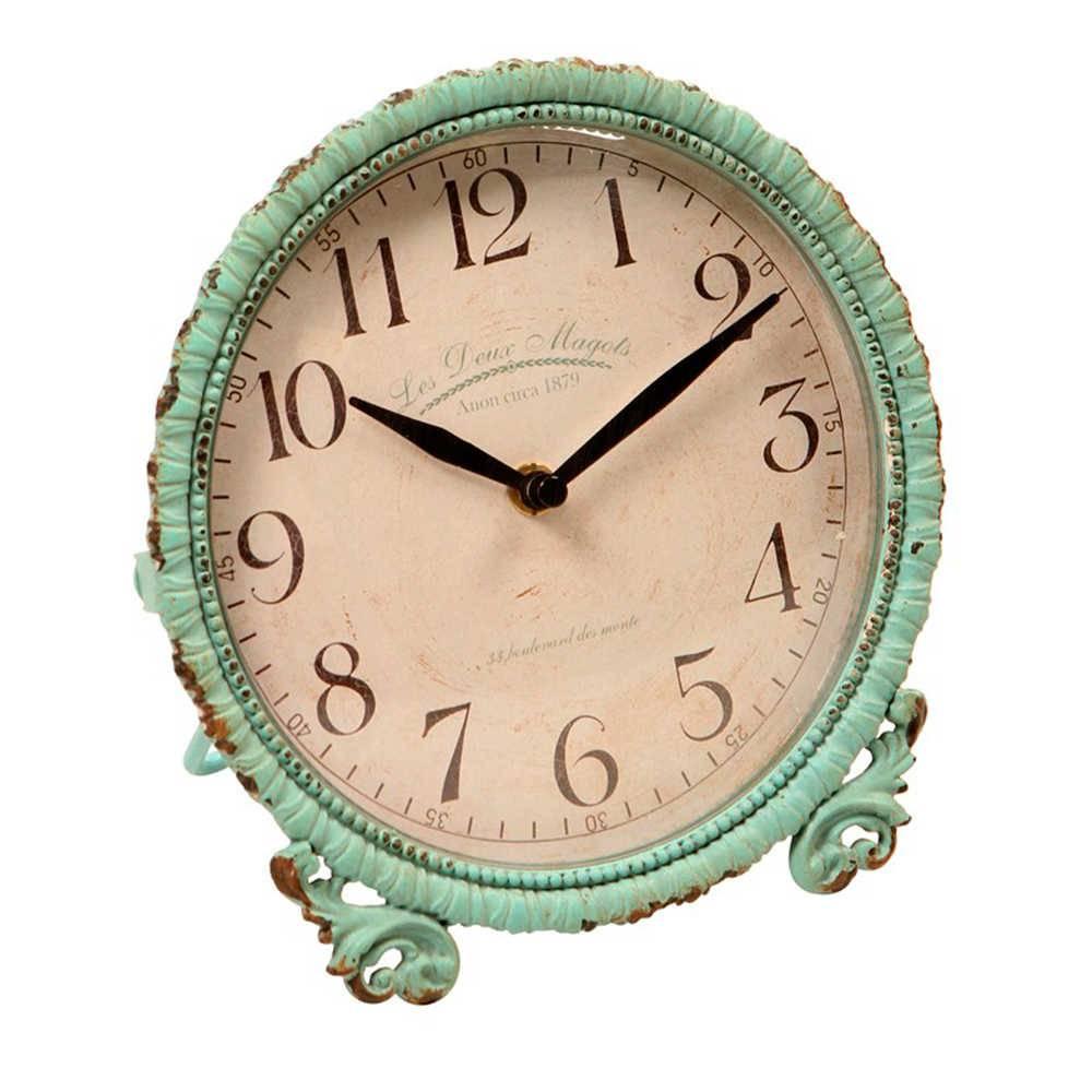 Relógio de Parede Provençal Verde Envelhecido em Metal - 20x20 cm