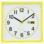 Relógio de Parede Quadrado com Calendário Amarelo - Urban - 24x24 cm
