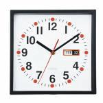 Relógio de Parede Quadrado com Calendário Preto - Urban - 24x24 cm