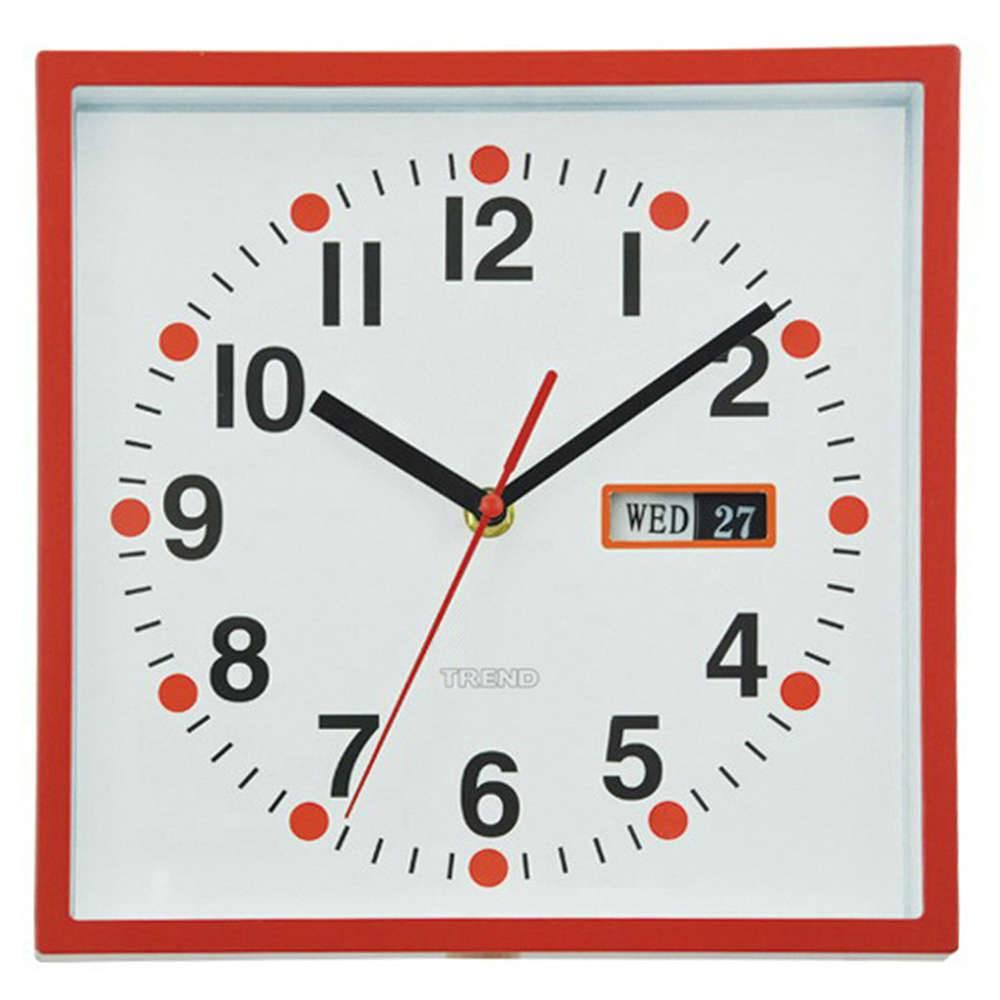 Relógio de Parede Quadrado com Calendário Vermelho - Urban - 24x24 cm