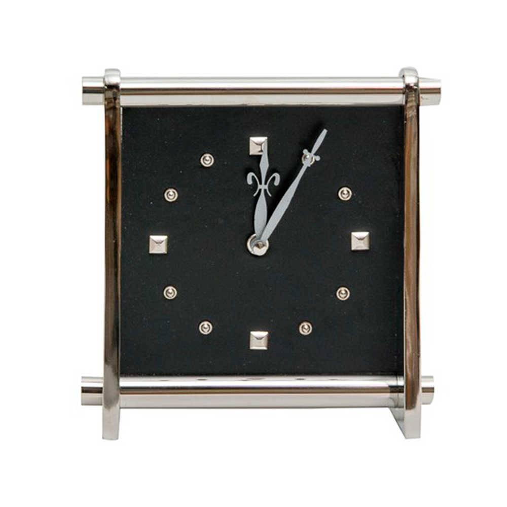 Relógio de Parede Quadrado Cromado em Couro Natural e Metal - 23x23 cm