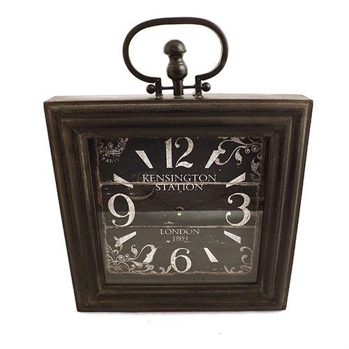 Relógio De Parede Quadrado - Kensington Station London - Em Metal, Vidro e Madeira - 41x53 cm