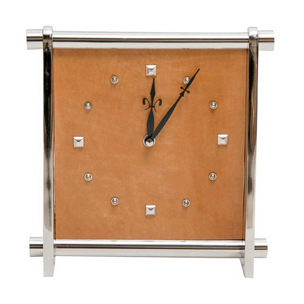 Relógio de Parede Quadrado Marrom Cromado em Couro Natural e Metal - 23x23 cm