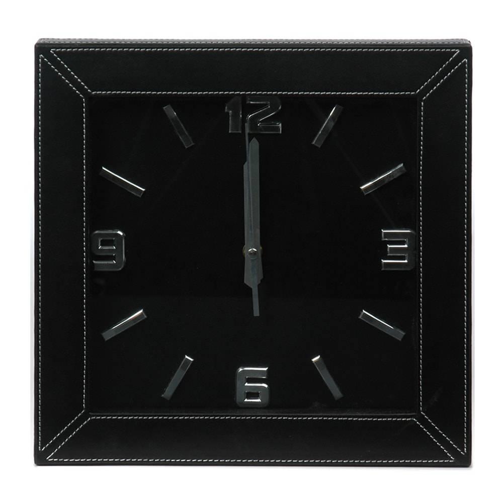 Relógio de Parede Quadrado Preto em Couro Sintético - 31x31 cm
