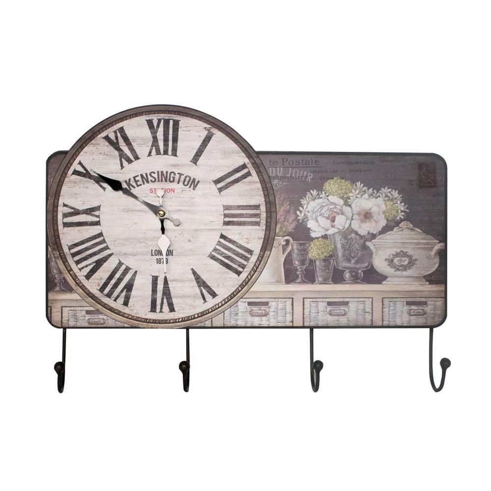 Relógio de Parede com Quatro Ganchos Oldway Branco e Preto em MDF - 32x45x6cm