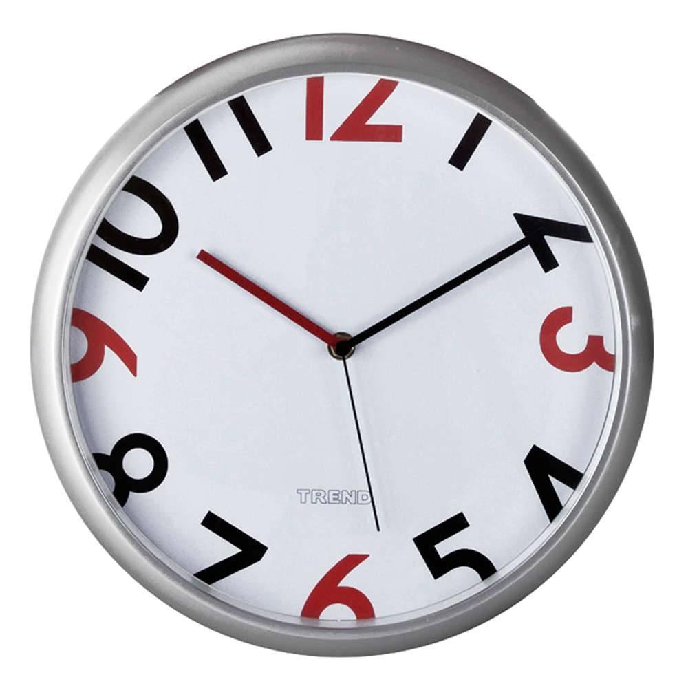 Relógio de Parede Redondo Números Vermelhos e Pretos - Urban - 30,5x4 cm