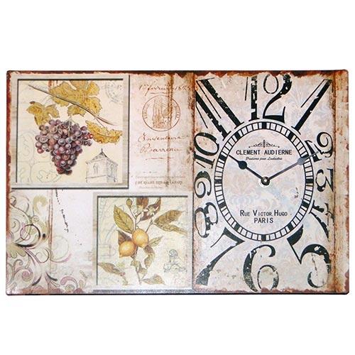 Relógio de Parede Retangular com Frutas - Oldway - Em Metal - 25x38 cm