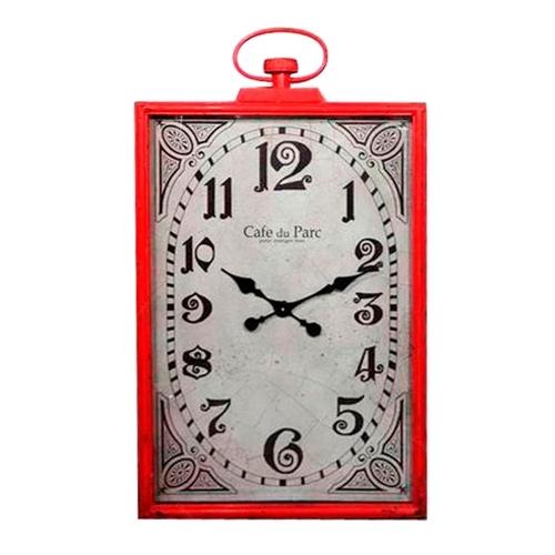 Relógio de Parede Retangular Vermelho em Metal - 99,5x55,5 cm