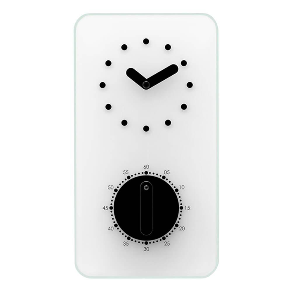 Relógio de Parede Retangular em Vidro Branco com Timer - Urban - 22x12 cm
