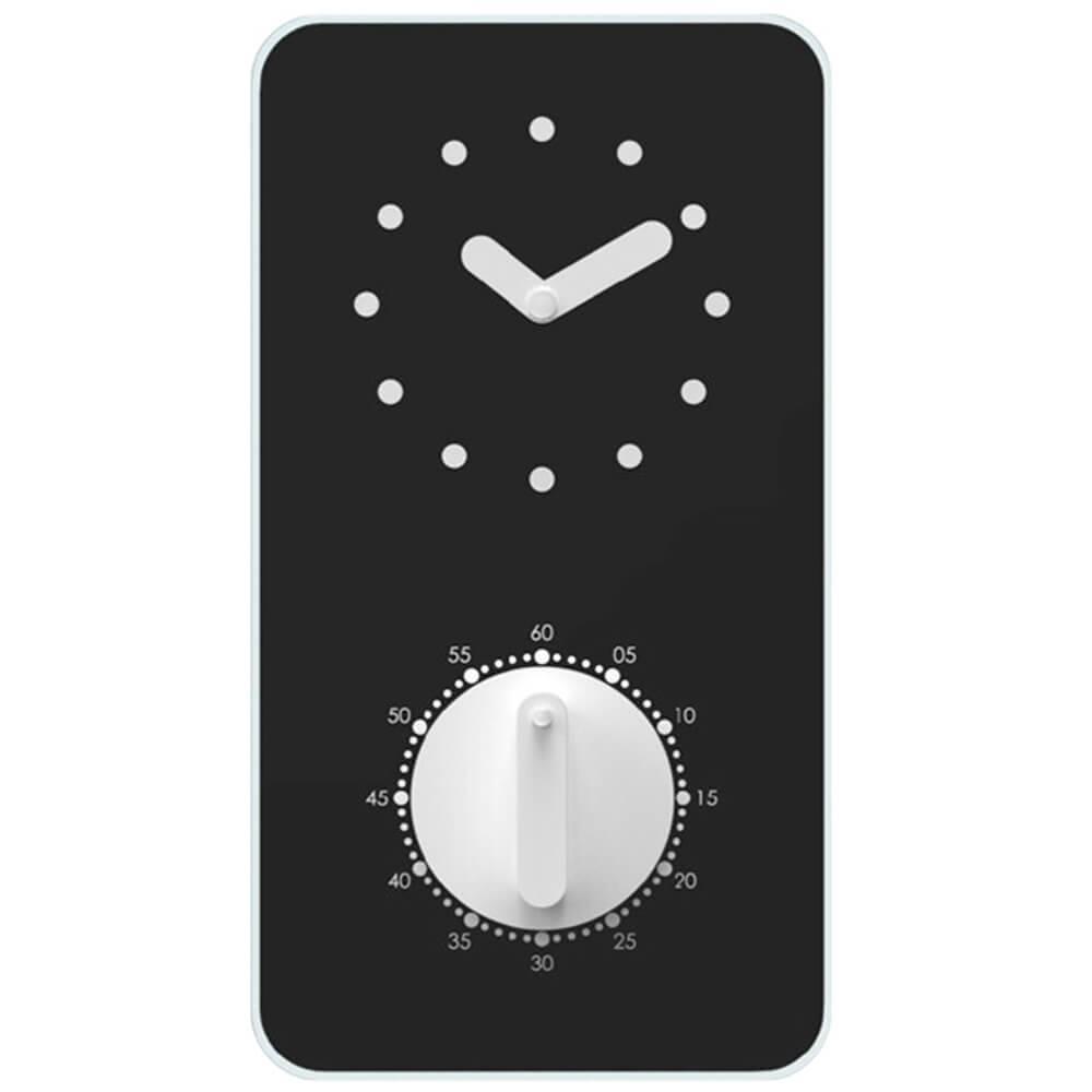 Relógio de Parede Retangular em Vidro Preto com Timer - Urban - 22x12 cm