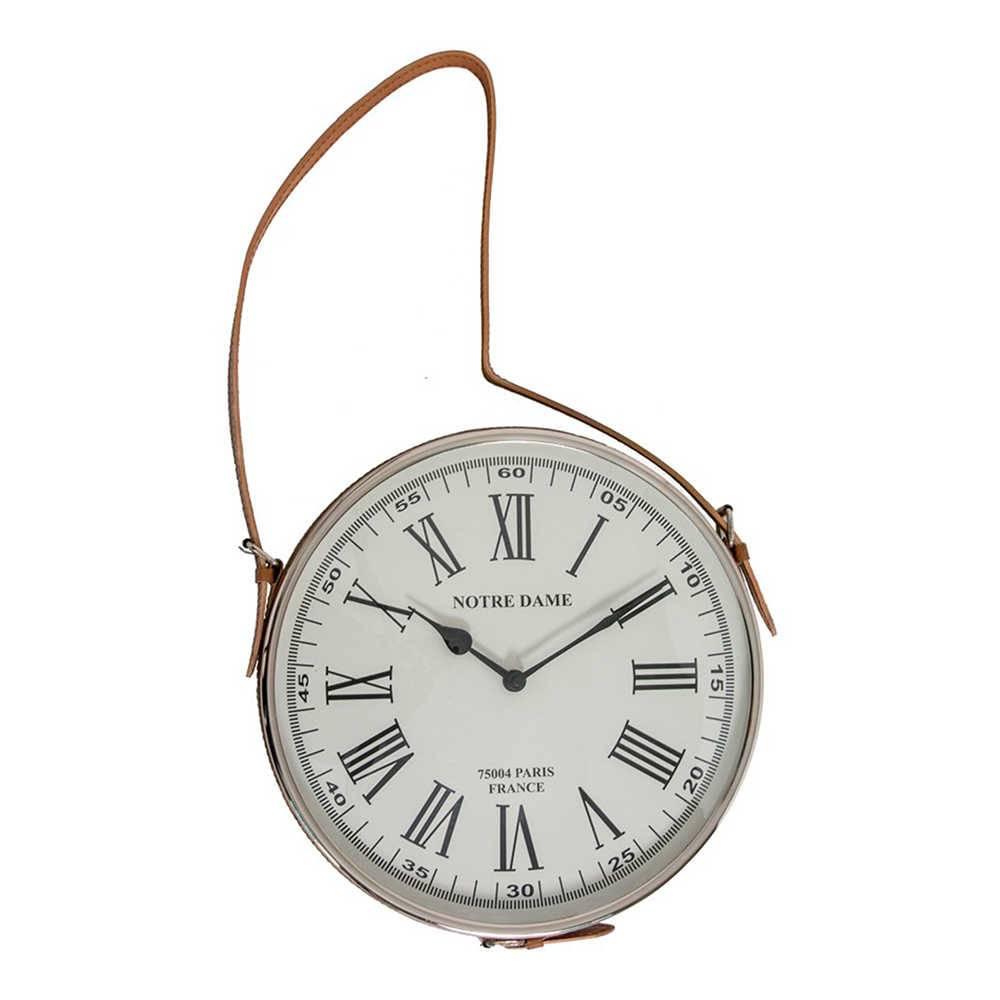 Relógio de Parede Romano Branco em Metal Cromado e Alça de Couro Natural - 75x35 cm