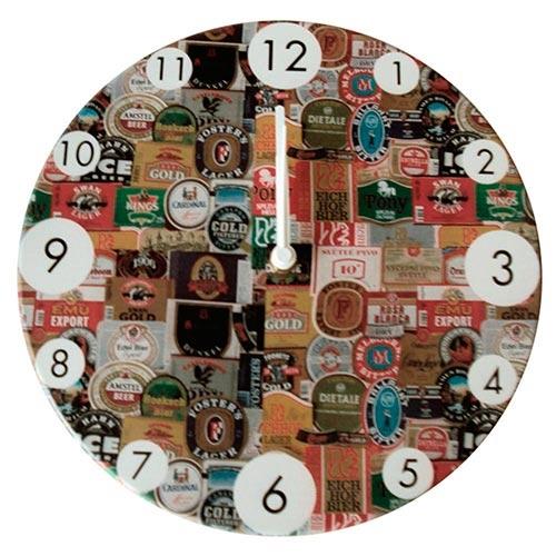 Relógio de Parede Rótulos de Cerveja em Madeira MDF - 28 cm