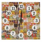 Relógio de Parede Rótulos de Cerveja em Madeira MDF - 30 cm