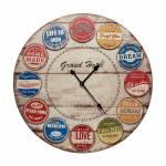 Relógio de Parede Rótulos Coloridos Oldway em MDF - 80x2cm