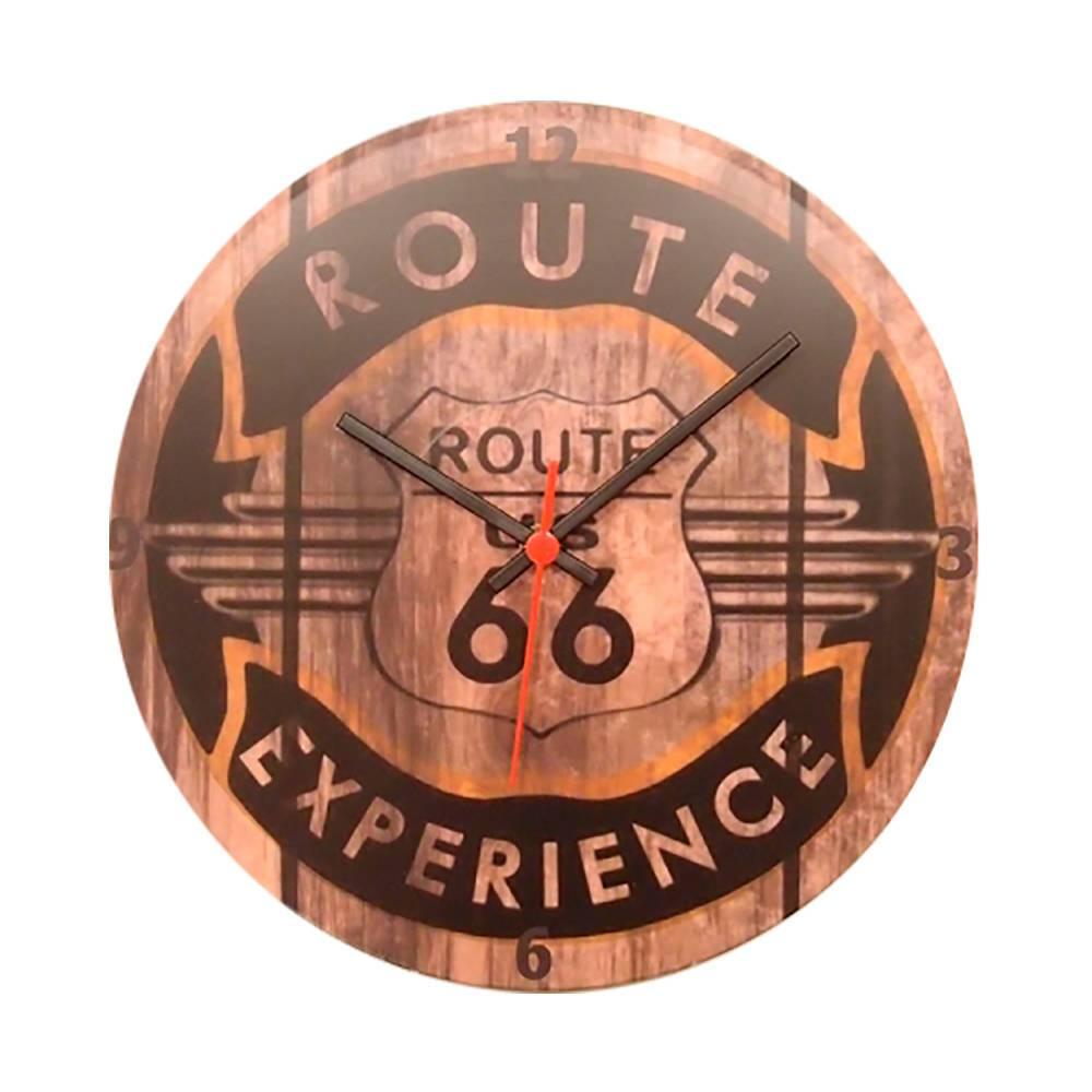 Relógio de Parede Route 66 Marrom em Vinil - 30x30 cm