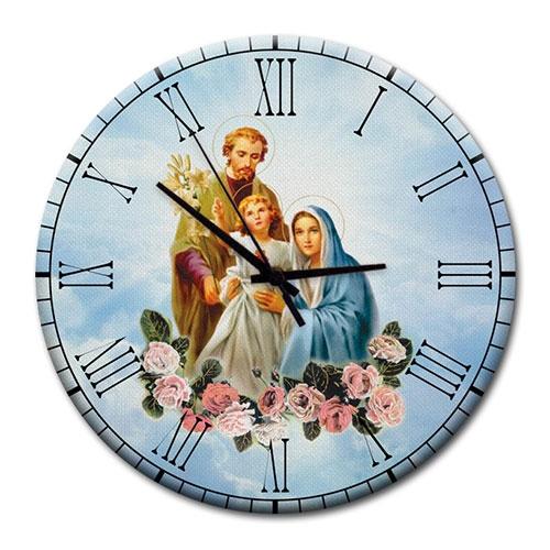 Relógio de Parede Sagrada Família em Madeira MDF - 28 cm