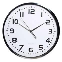 Relógio de Parede Shiny Prata e Branco em Metal Urban 35 cm