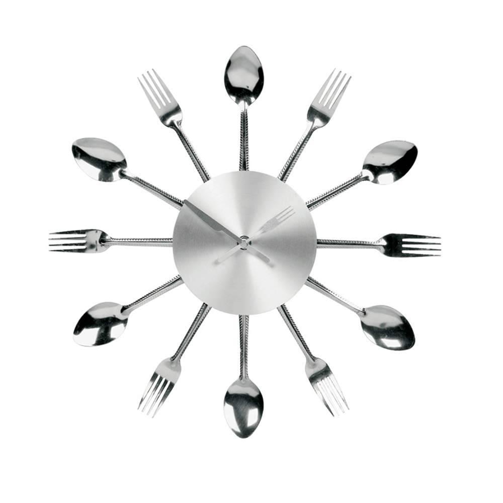 Relógio de Parede Spoon Time em Aço Escovado - Urban - 37 cm
