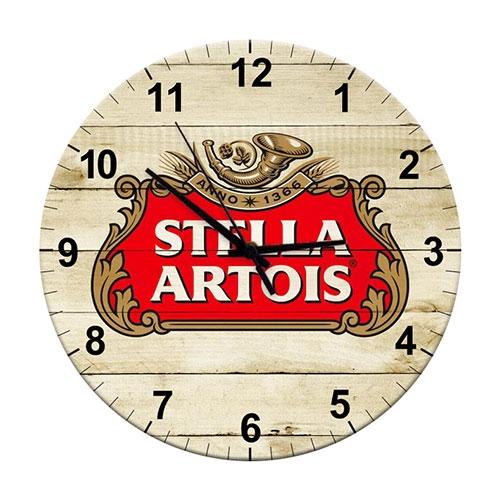 Relógio de Parede Stella Artois em Madeira MDF - 28 cm