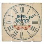 Relógio de Parede Sweet Home Flores em Madeira MDF - 40 cm
