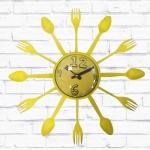 Relógio de Parede Talheres Amarelo - 15 cm