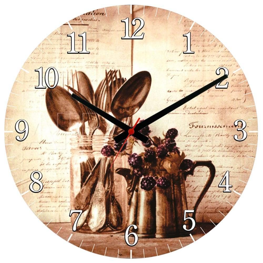 Relógio de Parede Talheres e Jarro Sépia em MDF - 28 cm