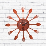 Relógio de Parede Talheres Laranja - 15 cm